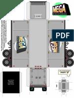 28mm Semi Truck Trailer Paper Vehicle Miniature