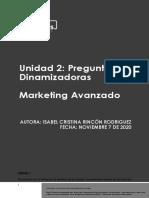 Preguntas dinamizadoras Unidad 2 Marketing Avanzado (noviembre 7 de 2020)