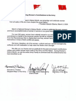 2011 Women's History Month Tri-Signed Memo