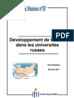 Développement de la R&D dans les universités russes