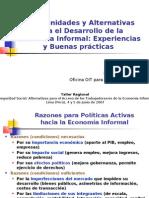 ALTERNATIVAS Y OPORTUNIDADES PARA LOS TRABAJADORES DE LA ECONOMÍA INFORMAL