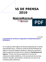 NorteHispana de Seguros. Comunicados de prensa 2010