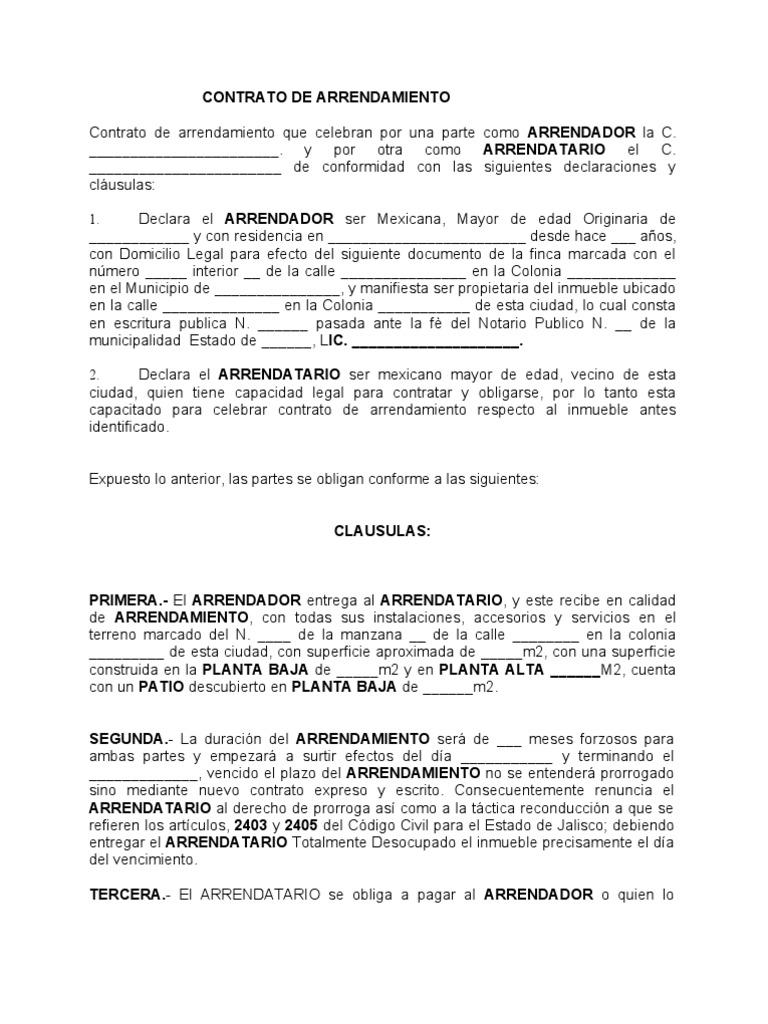 Formato contrato arrendamiento for Contrato documento