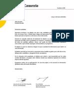 Carta de invitación a Julio Guzmán