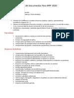Relação de Documentos Para IRPF 2020