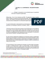 "04-12-2020 INAUGURA HÉCTOR ASTUDILLO LA CONFERENCIA ""RECONSTRUYENDO LA ALDEA GLOBAL"" 2020"