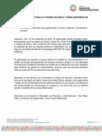 27-11-2020 RECIBE HÉCTOR ASTUDILLO A PADRES DE NIÑAS Y NIÑOS ENFERMOS DE CÁNCER