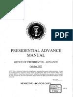 Presidential Advance Manual - Bush '02