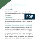 Padronização da organização dos documentos