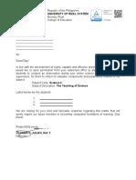 Science 4- letter for observation
