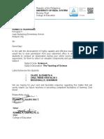 Science 4- Letter for Observation Cajifes Group