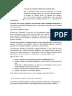 EL PAPEL DE LA INVESTIGACIÓN DE LA TRANSFORMACIÓN EN LA ESCUELA