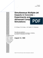 simultaneous multiple-jet impacts in concrete-experiments and advanced computational simulations