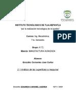 2.1 Análisis de Las Superficies a Maquinar