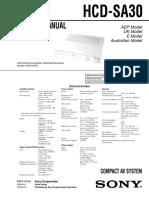 Sny HCD-SA30 Service Manual (P.N. - 987717703)