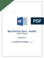 FICHE N°4 - Word 2010