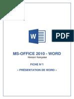 FICHE N°1 - Word 2010