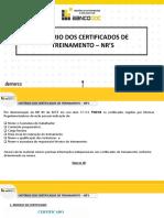 ORIENTAÇÃO - CERTIFICADOS DE TREINAMENTO - NR 'S