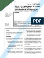 ABNT - NBR - 9054 - Tubo de PVC rigido coletor de esgoto sanitario - Verificacao da estanqueidade de junta