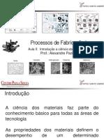 Processos de Fabricação I Aula 0 Introdução