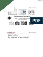 Processos de Fabricação I Aula 4 Ligas metálicas ferrosas