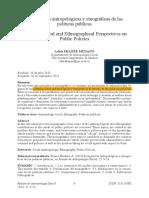 Perspectivas Antropológicas y Etnográficas de Las Políticas Públicas