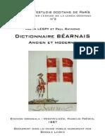 Vastin LESPY & Paul RAYMOND - Dictionnaire béarnais ancien et moderne