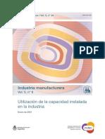 Uso de capacidad instalada en la Industria, Enero 2021, INDEC.