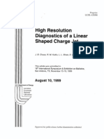 high resolution diagnostics of a linear shaped charge jet