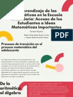 El aprendizaje de las matemáticas en la escuela secundaria