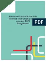 Pearson Edexcel Exam Fees - January 2021 Exam Series