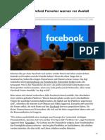 spiegel.de-Studie der Uni Oxford Forscher warnen vor Ausfall von Facebook