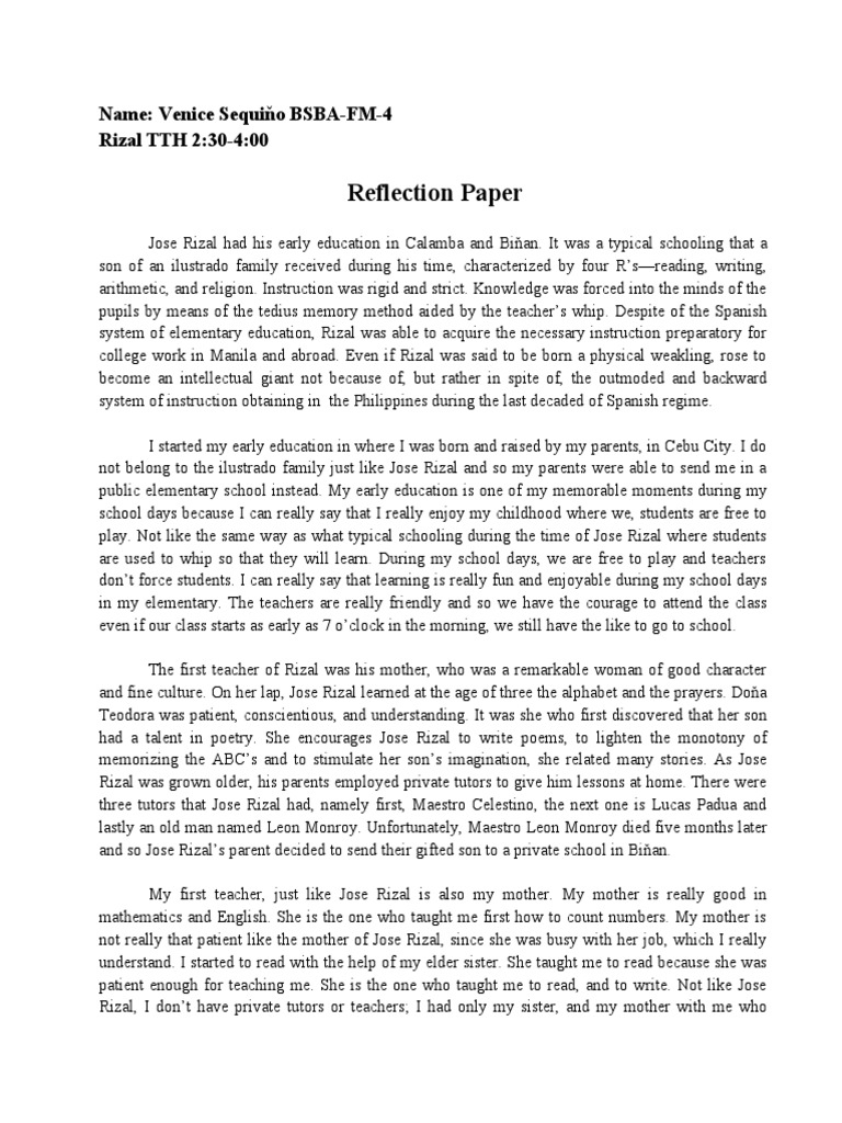 Rizal Reaction Paper ( Words)  Rizal Reaction Paper   Words