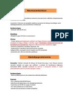 Neuroacantocitose, Abetalipoproteinemia e Sindrome de McLeod