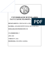 11041 PROGRAMA ANALISIS INSTITUCIONAL DE LA ESCUELA PROF NICASTRO 1 2020