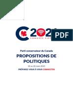 Congrès du Parti conservateur / Propositions de politiques