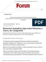Bolsonaro atrapalhou jogo entre Palmeiras e Vasco, diz Casagrande _ Revista Fórum