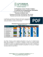 Programación exámenes cursos del tronco común y procedimiento para solicitud de la programación alternativa