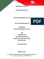 MEMORIAS ESTRUCTURA METALICA JOHNATAN RAMIREZ DE LA PAVA