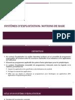 Chapitre -1-Systèmes d'exploitation Notions de base