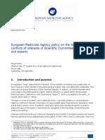 European Medicine Agency (EMA) - Politiche di gestione del conflitto di interessi