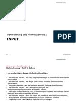 Allgemeine Psychologie I _ Wahrnehmung und Aufmerksamkeit II