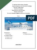 Modélisation Et Commande Linéaire d'Un Avion Application Au BOEING 747.