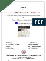 PROJECT REPORT ON FINANCIAL STATEMENT ANALYSIS OF KAJARIA CERAMICS LTD.