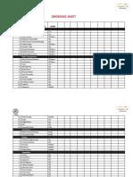 Restaurant Ordering Checklist Sheet