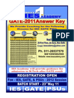 GATE 2011 Solution, Answer Key, Electronics Engineering, IES Academy