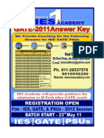 GATE 2011 Solution, Answer Key, Electronics, Mechanical, Electrical, Computer, Civil IES Academy