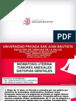Miomatosis Uterina, Tumores Anexiales, Distopías