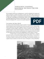 Imigrantes portuguesas cotidiano, trabalho e resistência. São Paulo 1920-19040