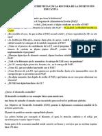 PREGUNTAS PARA LA ENTREVISTA CON LA RECTORA DE LA INSTITUCIÓN EDUCATIVA